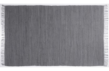 THEKO Handwebteppich Happy Cotton uni anthracite 40 cm x 60 cm