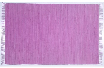 THEKO Handwebteppich Happy Cotton uni berry 60 cm x 120 cm