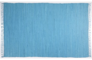 THEKO Teppich Happy Cotton, UNI, turquoise 90cm x 160cm