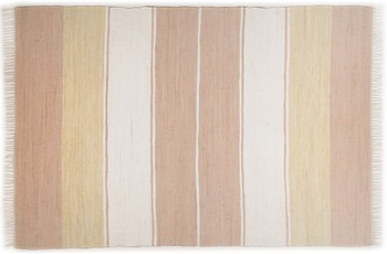 THEKO Handwebteppich Happy Design Stripes beige 60 cm x 120 cm