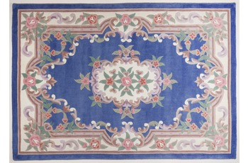 THEKO Teppich Ming, Aubusson 501, blau 190cm x 290cm oval