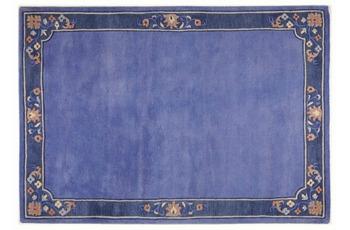 THEKO Nepalteppich Suha, fl. border, blau 160cm x 230cm