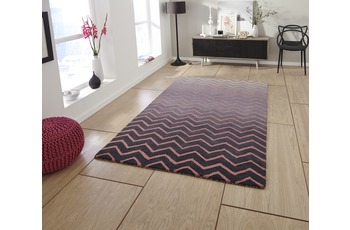 Think Rugs Wollteppich Spectrum SP22 Grau/ Pink