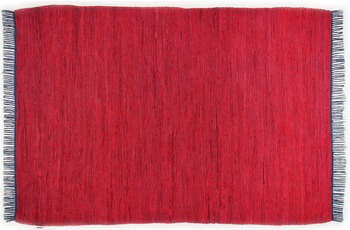 Tom Tailor Handwebteppich Cotton Colors, Uni, rot 60cm x 120cm