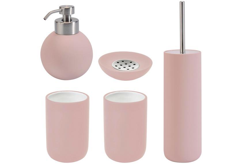 Aquanova Badaccessoires Set CLEO pastellrosa (bestehend aus WC-Garnitur, Seifenspender, Kosmetikschale und 2x Zahnputzbecher)