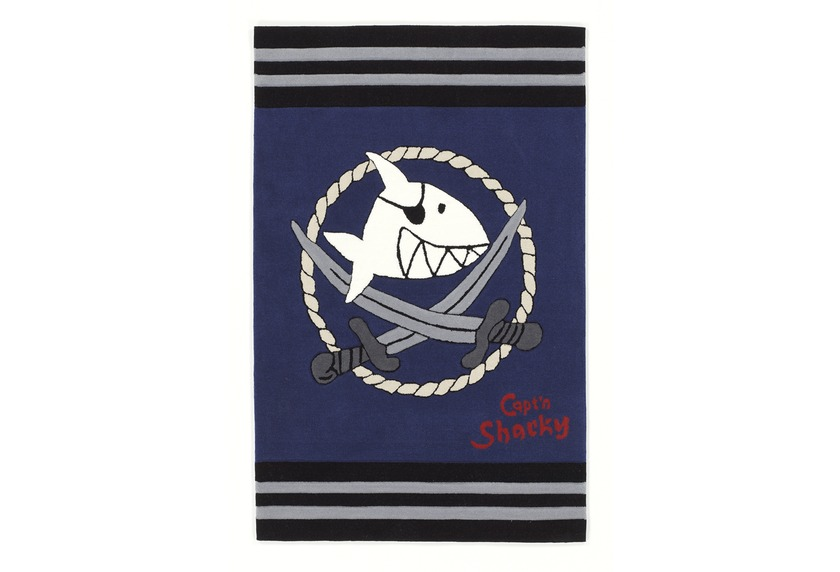 Capt\'n Sharky Kinder-Teppich, Käpt'n Sharky und die silberne Kordel, Kinder-Teppich, Öko-Tex zertifi