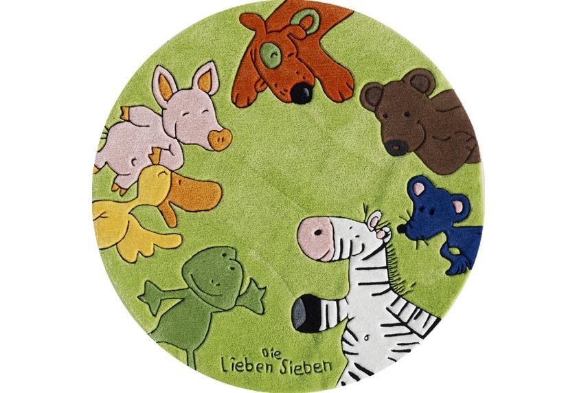 Kinderteppich tiere  Die Lieben Sieben Kinder-Teppich, rund, grün, Öko-Tex zertifiziert ...