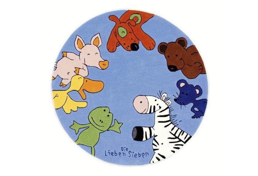 Die Lieben Sieben Kinder Teppich, Rund Blau, Öko Tex Zertifiziert