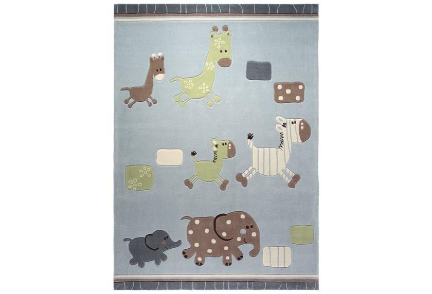 Kinderteppich blau beige  ESPRIT Kinder-Teppich, Lucky Zoo ESP-2842-02 blau, Öko-Tex 100 ...