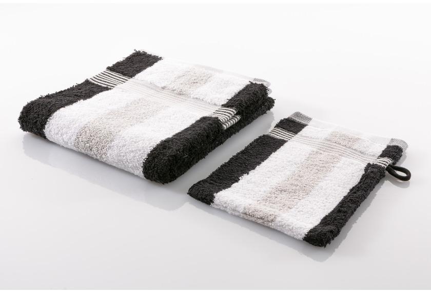 Gözze Frottierserie New York Streifen weiß/silber/schwarz