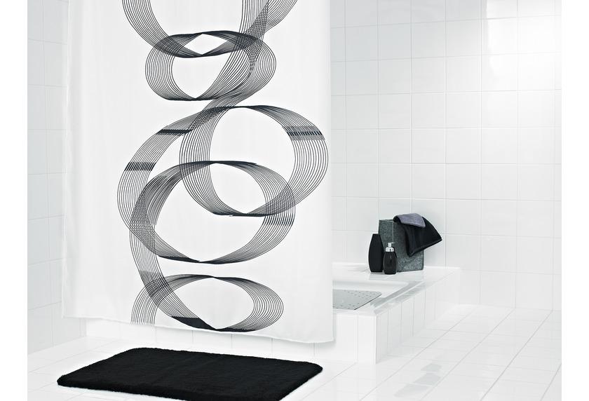grund duschvorhang curvo weiss grau badaccessoires duschvorhang bei tepgo kaufen versandkostenfrei. Black Bedroom Furniture Sets. Home Design Ideas