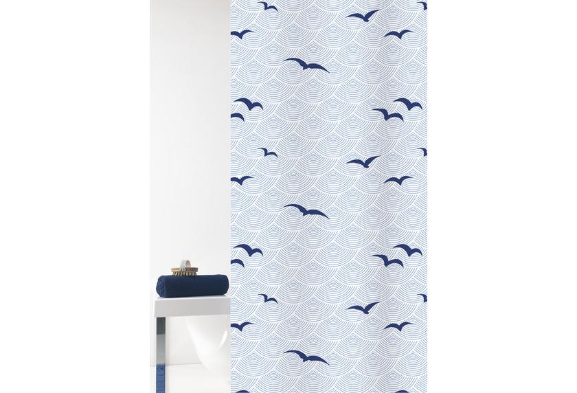 GRUND Duschvorhang Seacoast weiß/blau 180x200 cm