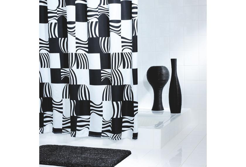 grund duschvorhang nero schwarz weiss badaccessoires duschvorhang bei tepgo kaufen. Black Bedroom Furniture Sets. Home Design Ideas