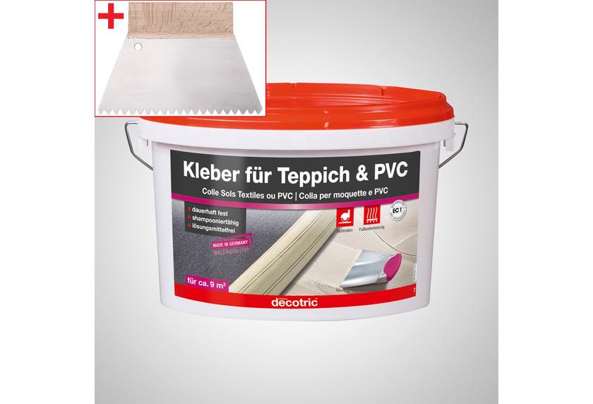 ilima Verlegeset für Teppichboden und Vinylboden - Dispersionskleber 3kg Kleber + Zahnspachtel