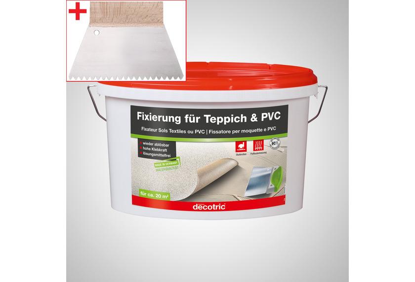 ilima Verlegeset für Teppichboden und Vinylboden - Dispersionskleber 5kg Fixierung + Zahnspachtel