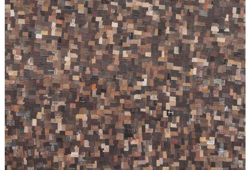 Kelii Patch Lederteppich Pattern braun