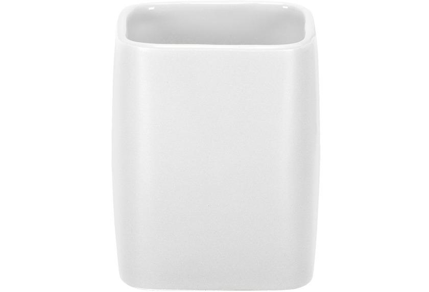 Kleine Wolke Accessoires Zahnputzbecher Cubic, Weiss 9 x 7,5 cm