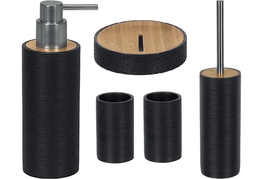 kleine wolke badaccessoires set kyoto schwarz seifenspender wc garnitur kosmetikablage 2x. Black Bedroom Furniture Sets. Home Design Ideas
