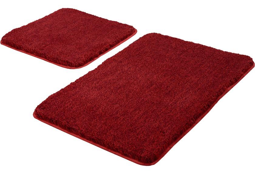 Kleine Wolke Badteppich Relax, Rubin Set 2-teilig, Jubiläums-Angebot 2-teilig (50 x 50 cm und 55 x 85 cm)