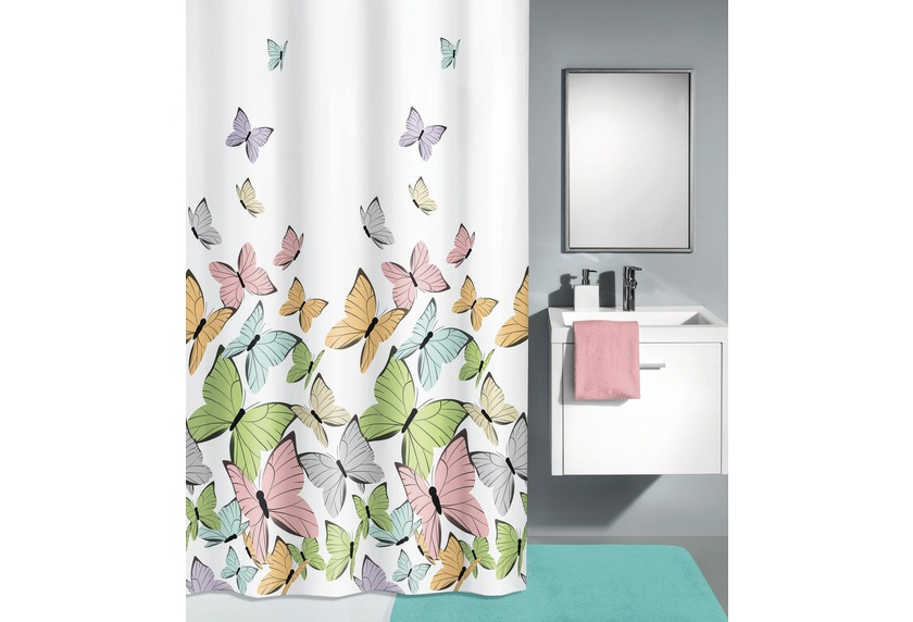 kleine wolke duschvorhang butterflies multicolor 180 x. Black Bedroom Furniture Sets. Home Design Ideas