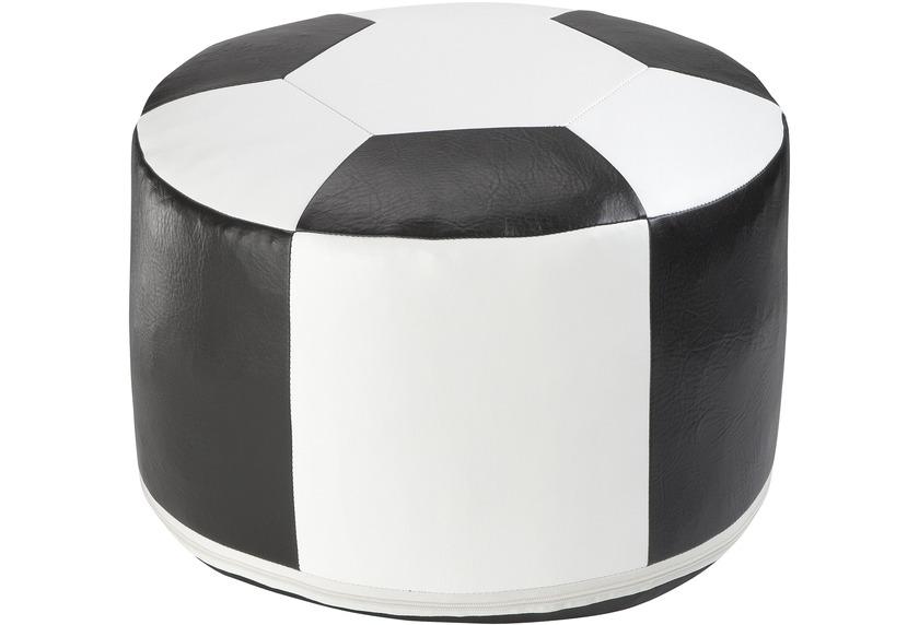 linke licardo Fussball-Sitzkissen, Kunstleder weiss/schwarz Ø 50/34 cm