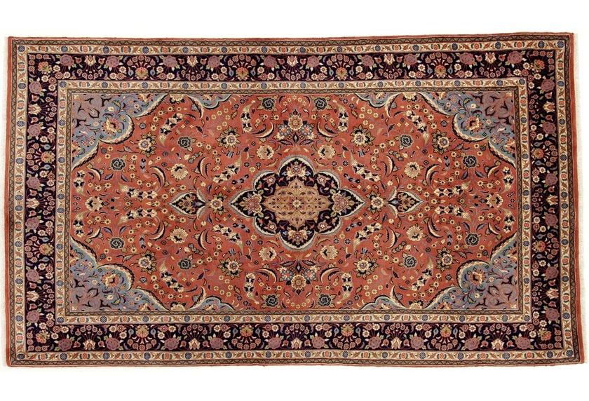 Oriental Collection Teppich, Sarough, Perser-Teppich, handgeknüpft, reine Schurwolle, florale Ornamentik, 140 x 244 cm