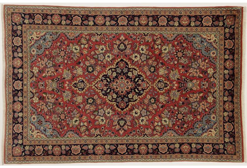 Oriental Collection Teppich, Sarough, Perser-Teppich, handgeknüpft, reine Schurwolle, florale Ornamentik, 137 x 208 cm