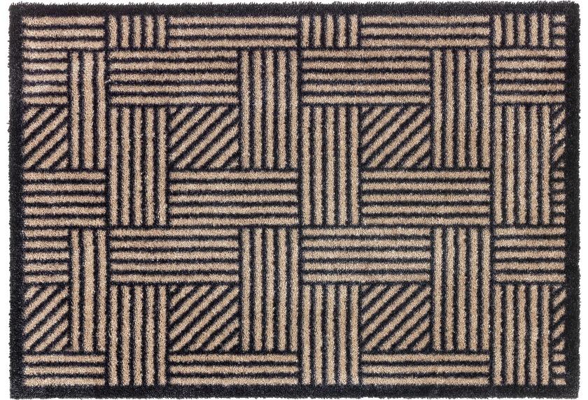 Schöner Wohnen Fußmatte Manhattan Design 004, Farbe 006 Streifengitter beige/anthrazit