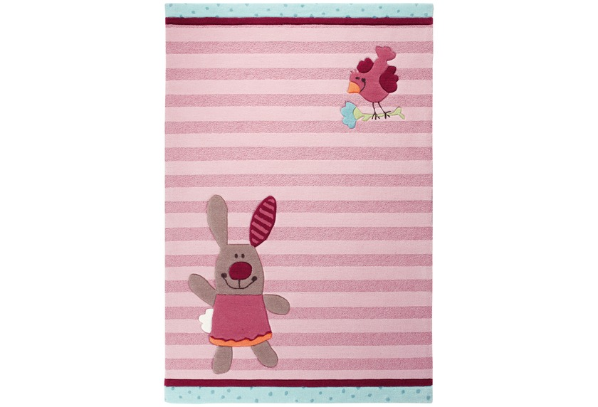 Sigikid Kinder Teppich, 3 Happy Friends, Stripes SK-3349-01 rosa ...