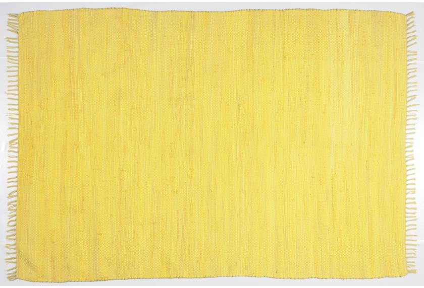 THEKO Handwebteppich Happy Cotton uni gelb