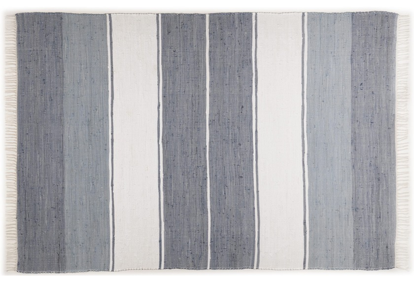 THEKO Handwebteppich Happy Design Stripes anthracite