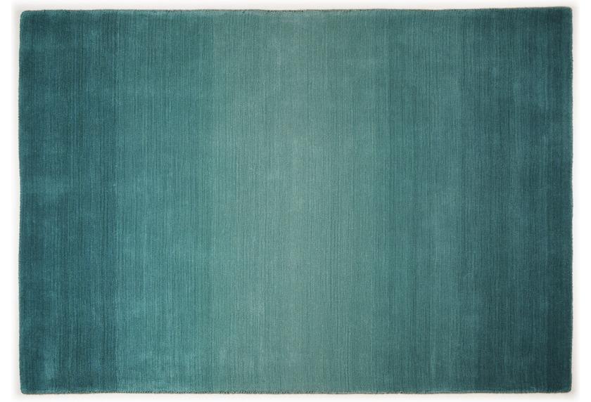theko teppich wool comfort ombre turquoise designerteppich bei tepgo kaufen versandkostenfrei. Black Bedroom Furniture Sets. Home Design Ideas
