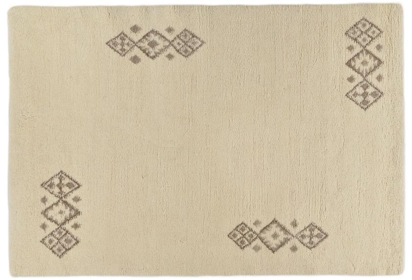 Tuaroc Berberteppich Zagora mit ca. 130.000 Florfäden/m² wollweiß mit Muster